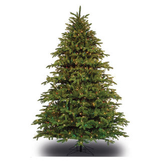 7.5 ft. x 60 in. Artificial Christmas Tree - Pre-Lit Alaskan Deluxe Fir - Realistic PE/PVC Needles - Barcana