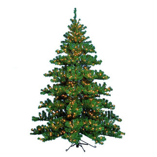 7.5 ft. Artificial Half Christmas Tree - Classic PVC Needles - Pre-Lit Alaskan Half - Barcana
