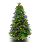 7.5 ft. Artificial Christmas Tree - Pre-Lit Slim Alaskan Deluxe Fir - Realistic Molded Tips - Barcana