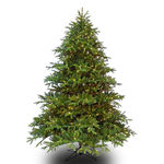 7.5 ft. Artificial Christmas Tree - Pre-Lit Wide Alaskan Deluxe Fir - Realistic PE/PVC Needles - Barcana