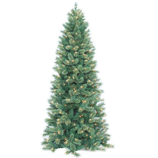 9 ft. Artificial Christmas Tree - Pre-Lit Slim Cashmere Fir - Classic PVC Needles - Barcana