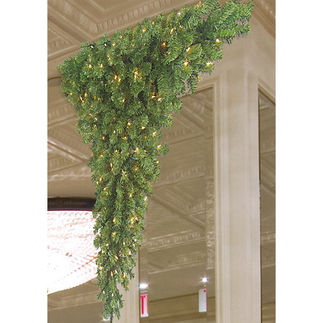 5 ft. Artificial Christmas Tree - Upside Down Around Corner Three Quarter Tree - Pre-Lit with Clear Mini Lights - Barcana