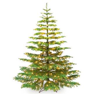 9 ft. Artificial Christmas Tree - Pre-Lit Noble Fir - Classic PVC Needles - Barcana