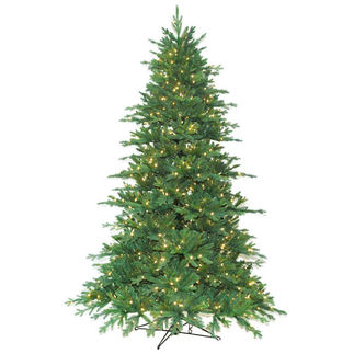 9 ft. Artificial Christmas Tree - Pre-Lit Redford Fir - Realistic PE/PVC Needles - Barcana