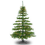 10 ft. Artificial Christmas Tree - Pre-Lit Slim Tiffany Pine - Classic PVC Needles - Barcana