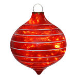 Illuminated - Christmas Striped Sandstone Drop Decoration - Red - 14 in.