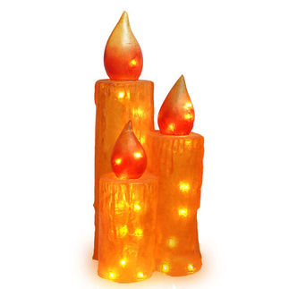 (Set of 3) Illuminated - Frosted Candle Trio Decoration - Gold - 27 in. - 35 Bulbs