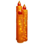 (Set of 3) Illuminated - Frosted Candle Trio Decoration - Gold - 48 in. - 35 Bulbs