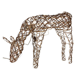 42 in. Animated Feeding Grapevine Deer - Pre-Lit with 100 Clear Mini Lights - Sterling 92512015