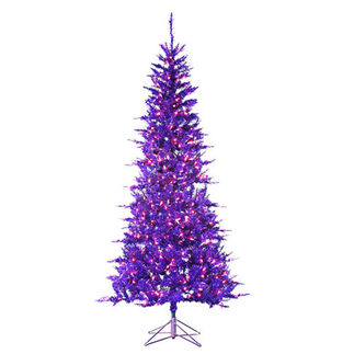 7.5 ft. Artificial Christmas Tree - Pre-Lit Purple Tiffany Tinsel - 450 Purple Mini Lights