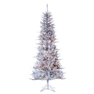 7.5 ft. Artificial Christmas Tree - Pre-Lit Silver Tiffany Tinsel - 450 Mini Lights