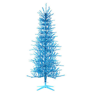 5 ft. Artificial Christmas Tree - Pre-Lit Blue Tinsel - 450 Bulbs