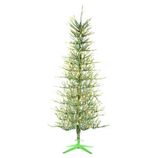 5 ft. Artificial Christmas Tree - Pre-Lit Lime Green Tinsel - 450 Lime Green Mini Lights