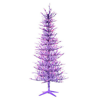 5 ft. Artificial Christmas Tree - Pre-Lit Purple Tinsel - 450 Purple Mini Lights