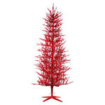 5 ft. Artificial Christmas Tree - Pre-Lit Red Tinsel - 450 Mini Lights