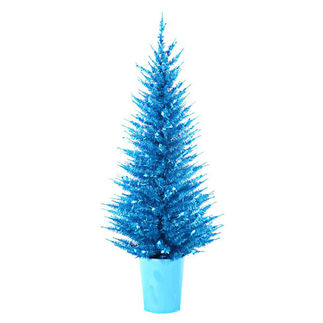 4 ft. Potted Artificial Christmas Tree - Pre-Lit Blue Vogue Tinsel - 100 Mini Lights