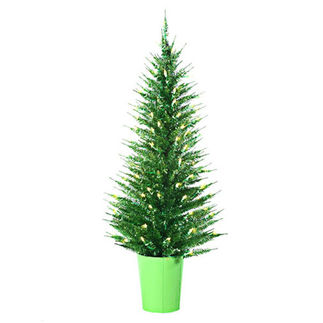4 ft. Potted Artificial Christmas Tree - Pre-Lit Lime Green Vogue Tinsel - 100 Lime Green Mini Lights