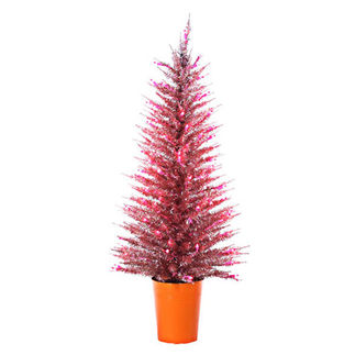 4 ft. Potted Artificial Christmas Tree - Pre-Lit Pink Vogue Tinsel - 100 Pink Mini Lights