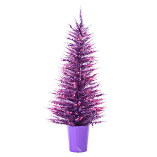 4 ft. Potted Artificial Christmas Tree - Pre-Lit Purple Vogue Tinsel - 100 Purple Mini Lights