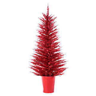 4 ft. Potted Artificial Christmas Tree - Pre-Lit Red Vogue Tinsel - 100 Red Mini Lights