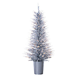 4 ft. Potted Artificial Christmas Tree - Pre-Lit Silver Vogue Tinsel - 100 Mini Lights