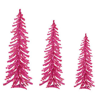 2 ft., 3 ft., 4 ft. Artificial Christmas Trees - Pre-Lit Pink Alpine Tinsel - 105 Mini Lights