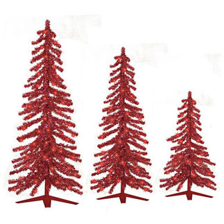 2 ft., 3 ft., 4 ft. Artificial Christmas Trees - Pre-Lit Red Alpine Tinsel - 105 Red Mini Lights