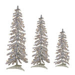 2 ft., 3 ft., 4 ft. Artificial Christmas Trees - Pre-Lit Silver Alpine Tinsel - 105 Mini Lights