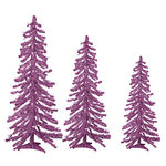 2 ft., 3 ft., 4 ft. Artificial Christmas Trees - Pre-Lit Purple Alpine Tinsel - 105 Purple Mini Lights