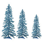 2 ft., 3 ft., 4 ft. Artificial Christmas Trees - Pre-Lit Teal Alpine Tinsel - 105 Mini Lights
