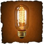 40 Watt - Vintage Antique Light Bulb - Radio Style - Hand-Wound Spiral Filament - Multiple Supports - Clear