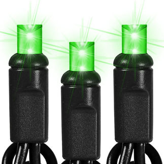 (50) Bulbs - LED - Lime Green Frost Wide Angle Mini Lights - Length 25.5 ft. - Bulb Spacing 6 in. - 120V - Black Wire