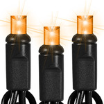 (50) Bulbs - LED - Orange Frost Wide Angle Mini Lights - Length 25.5 ft. - Bulb Spacing 6 in. - 120V - Black Wire
