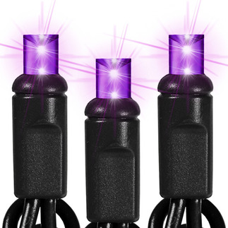 (50) Bulbs - LED - Purple Wide Angle Mini Lights - Length 25.5 ft. - Bulb Spacing 6 in. - 120V - Black Wire