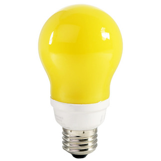 14 Watt - 60 W Equal - Yellow Bug Light - CFL Light Bulb - A Shape - TCP 21314-Y CFL Bug Light