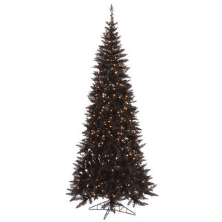 6.5 ft. Artificial Christmas Tree - Pre-Lit Slim Black Fir - 400 Clear Mini Lights - Vickerman