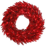 24 in. Christmas Wreath - Classic PVC Needles - Red Tinsel Fir - Pre-Lit with Red Mini Lights - Vickerman