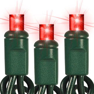 (24) Bulbs - Commercial LED System - Red Wide Angle Mini Lights - Length 12 ft. - Bulb Spacing 6 in. - Green Wire - 24V - 3-Channel