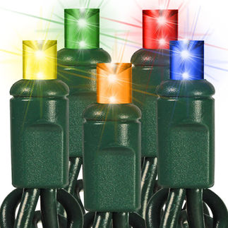 (48) Bulbs - Commercial LED System - Multi-Color Wide Angle Mini Lights - Length 24 ft. - Bulb Spacing 6 in. - Green Wire - 24V - Non-Rectified - 1-Channel