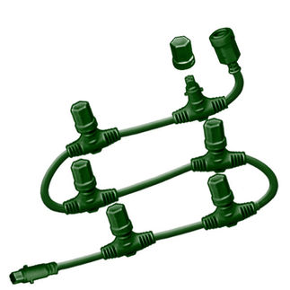 12 ft. Motherline Cord - For 24V Commercial LED System Strings - 6 Drop Connectors - Green - 3-Channel