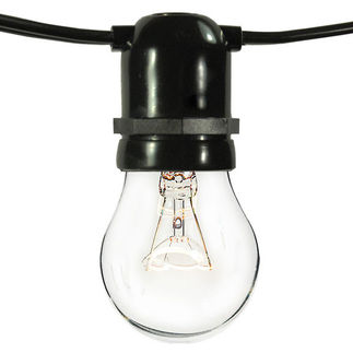 (50 Sockets) Black Wire - 120 Volt - Commercial Duty Patio Light Stringer - Medium Base Socket - 102 ft.