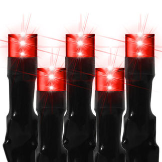(96) Bulbs - Commercial LED System - Red Wide Angle Meteor Shower Lights - Length 8 ft. - Black Wire - 24V - 3-Channel