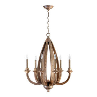 Quorum 6166-6-21 - Chandelier - 6 Light - Early American Finish