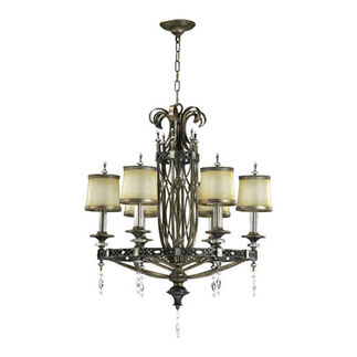 Quorum 6075-6-87 - Chandelier - 6 Light - Byzantine Bronze Finish