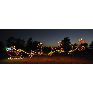 4.75 ft. x 16.8 ft. - C7 LED - Santa's Sleigh and Reindeer Display - 120 Volt