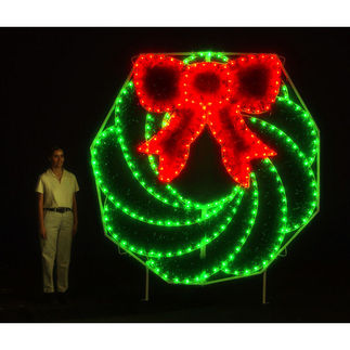 8 ft. - C7 LED - Christmas Wreath with Bow - 120 Volt