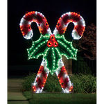8.3 ft. - C7 LED - Peppermint Crossed Candy Canes with Holly - 120 Volt