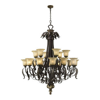 Quorum 6091-18-44 - 2 Tier Chandelier - 18 Light - Toasted Sienna Finish
