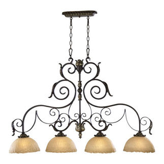Quorum 6591-4-44 - Island Pendant - 4 Light - Toasted Sienna Finish