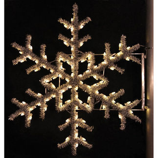 5 ft. - Warm White - C7 LED - Garland Snowflake Pole Decoration - 120 Volt